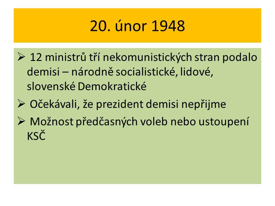 20. únor 1948  12 ministrů tří nekomunistických stran podalo demisi – národně socialistické, lidové, slovenské Demokratické  Očekávali, že prezident