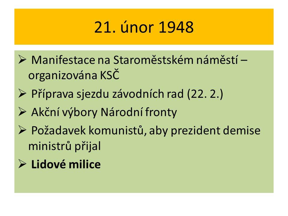 21. únor 1948  Manifestace na Staroměstském náměstí – organizována KSČ  Příprava sjezdu závodních rad (22. 2.)  Akční výbory Národní fronty  Požad