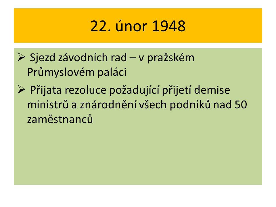 22. únor 1948  Sjezd závodních rad – v pražském Průmyslovém paláci  Přijata rezoluce požadující přijetí demise ministrů a znárodnění všech podniků n