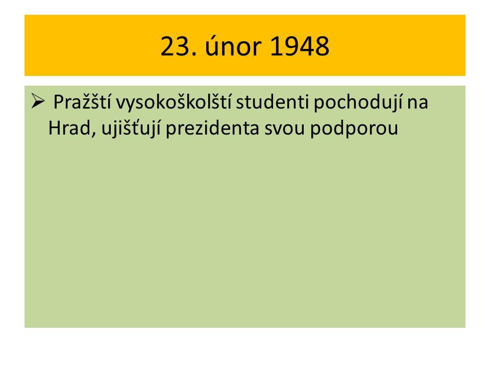 23. únor 1948  Pražští vysokoškolští studenti pochodují na Hrad, ujišťují prezidenta svou podporou