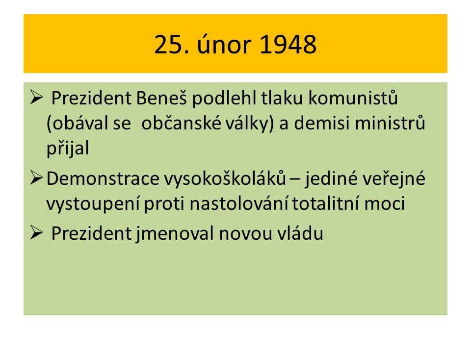 25. únor 1948  Prezident Beneš podlehl tlaku komunistů (obával se občanské války) a demisi ministrů přijal  Demonstrace vysokoškoláků – jediné veřej