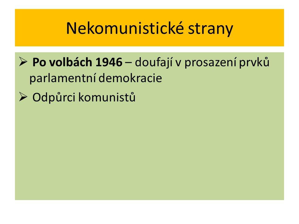 Nekomunistické strany  Po volbách 1946 – doufají v prosazení prvků parlamentní demokracie  Odpůrci komunistů