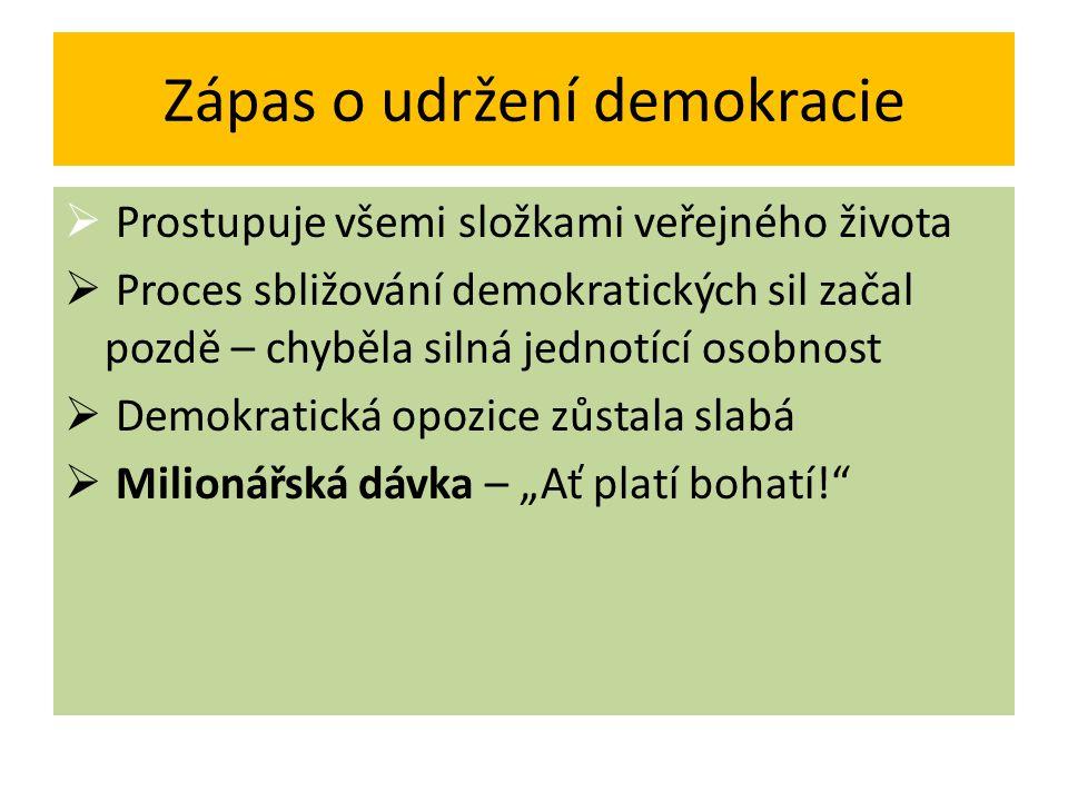 Zápas o udržení demokracie  Prostupuje všemi složkami veřejného života  Proces sbližování demokratických sil začal pozdě – chyběla silná jednotící o