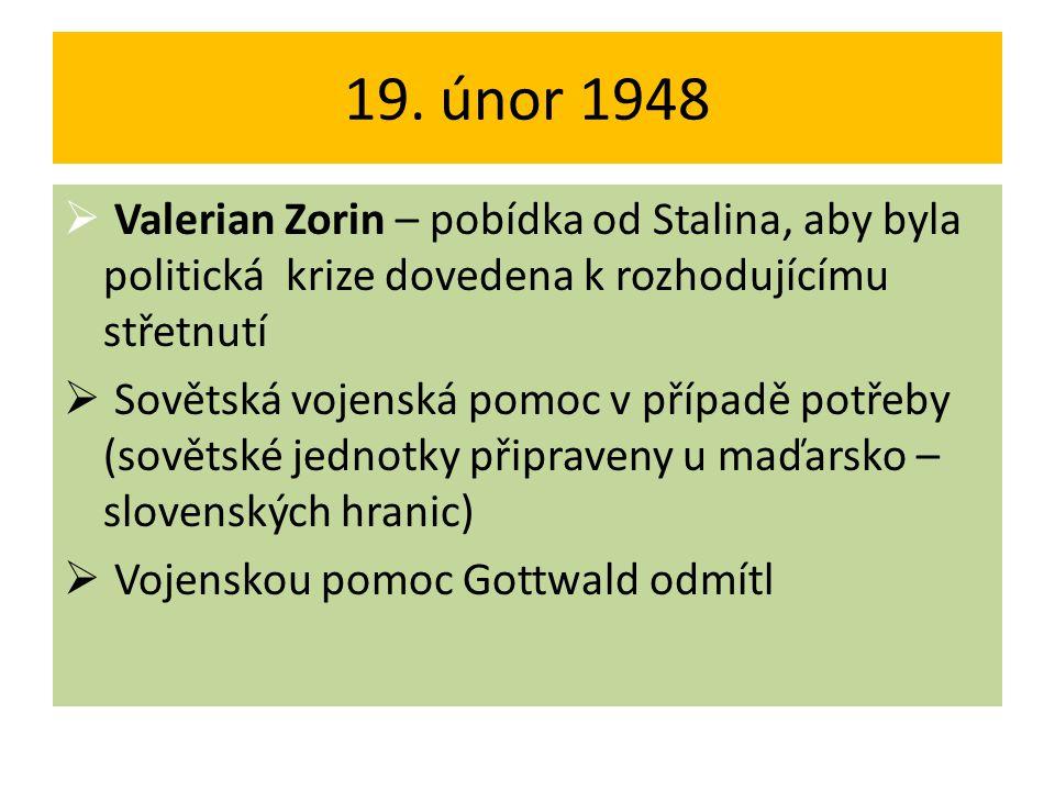 19. únor 1948  Valerian Zorin – pobídka od Stalina, aby byla politická krize dovedena k rozhodujícímu střetnutí  Sovětská vojenská pomoc v případě p
