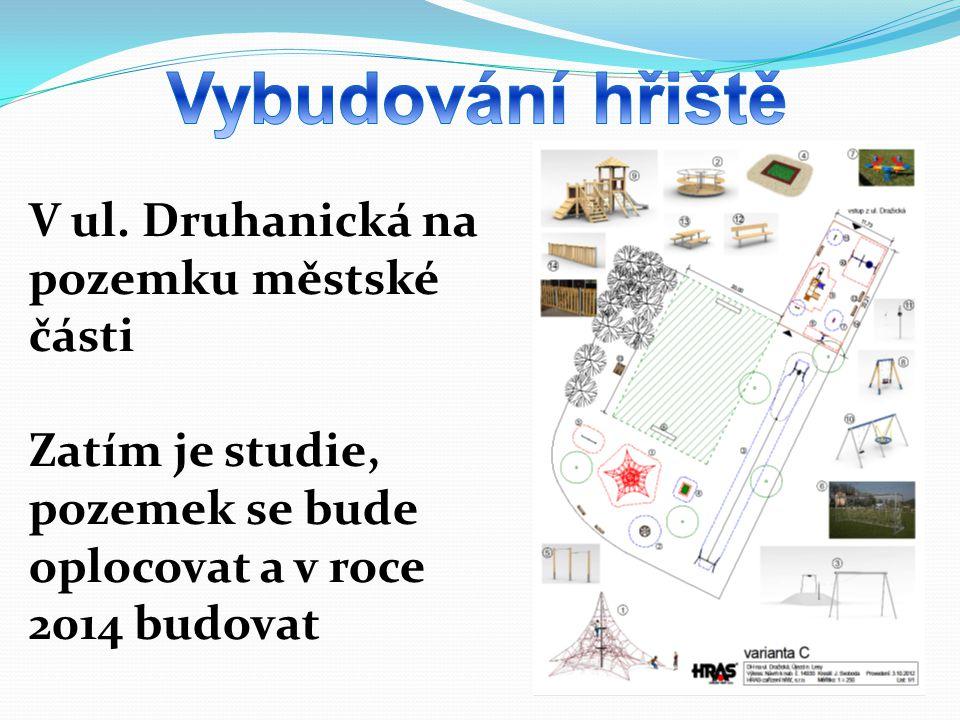 V ul. Druhanická na pozemku městské části Zatím je studie, pozemek se bude oplocovat a v roce 2014 budovat