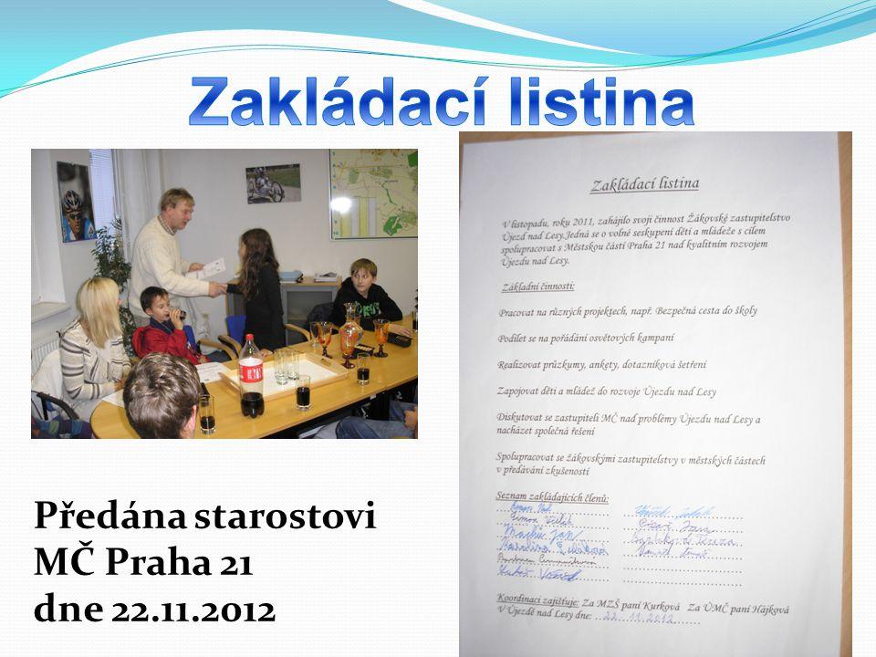 Předána starostovi MČ Praha 21 dne 22.11.2012