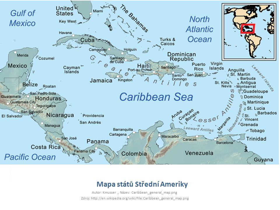 Mapa států Střední Ameriky Autor: Kmusser,, Název: Caribbean_general_map.png Zdroj: http://en.wikipedia.org/wiki/File:Caribbean_general_map.png