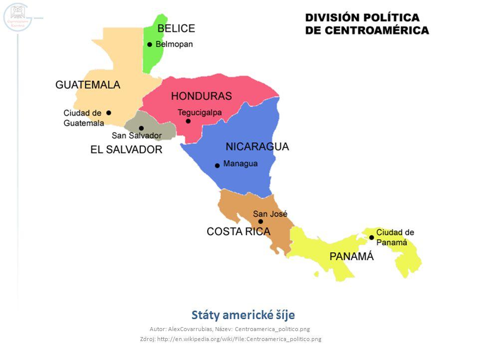 Státy americké šíje Autor: AlexCovarrubias, Název: Centroamerica_politico.png Zdroj: http://en.wikipedia.org/wiki/File:Centroamerica_politico.png