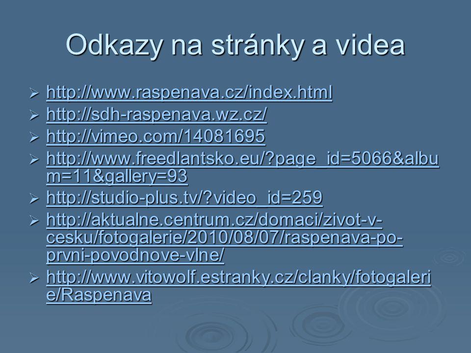 Odkazy na stránky a videa  http://www.raspenava.cz/index.html http://www.raspenava.cz/index.html  http://sdh-raspenava.wz.cz/ http://sdh-raspenava.wz.cz/  http://vimeo.com/14081695 http://vimeo.com/14081695  http://www.freedlantsko.eu/?page_id=5066&albu m=11&gallery=93 http://www.freedlantsko.eu/?page_id=5066&albu m=11&gallery=93 http://www.freedlantsko.eu/?page_id=5066&albu m=11&gallery=93  http://studio-plus.tv/?video_id=259 http://studio-plus.tv/?video_id=259  http://aktualne.centrum.cz/domaci/zivot-v- cesku/fotogalerie/2010/08/07/raspenava-po- prvni-povodnove-vlne/ http://aktualne.centrum.cz/domaci/zivot-v- cesku/fotogalerie/2010/08/07/raspenava-po- prvni-povodnove-vlne/ http://aktualne.centrum.cz/domaci/zivot-v- cesku/fotogalerie/2010/08/07/raspenava-po- prvni-povodnove-vlne/  http://www.vitowolf.estranky.cz/clanky/fotogaleri e/Raspenava http://www.vitowolf.estranky.cz/clanky/fotogaleri e/Raspenava http://www.vitowolf.estranky.cz/clanky/fotogaleri e/Raspenava