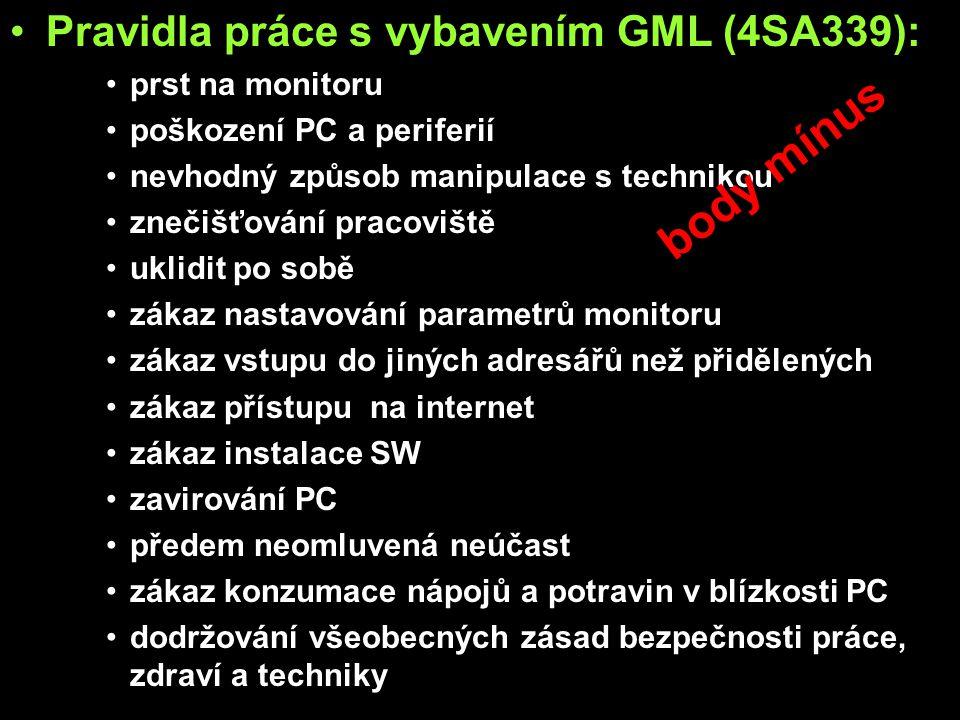 Pravidla práce s vybavením GML (4SA339): prst na monitoru poškození PC a periferií nevhodný způsob manipulace s technikou znečišťování pracoviště uklidit po sobě zákaz nastavování parametrů monitoru zákaz vstupu do jiných adresářů než přidělených zákaz přístupu na internet zákaz instalace SW zavirování PC předem neomluvená neúčast zákaz konzumace nápojů a potravin v blízkosti PC dodržování všeobecných zásad bezpečnosti práce, zdraví a techniky body mínus