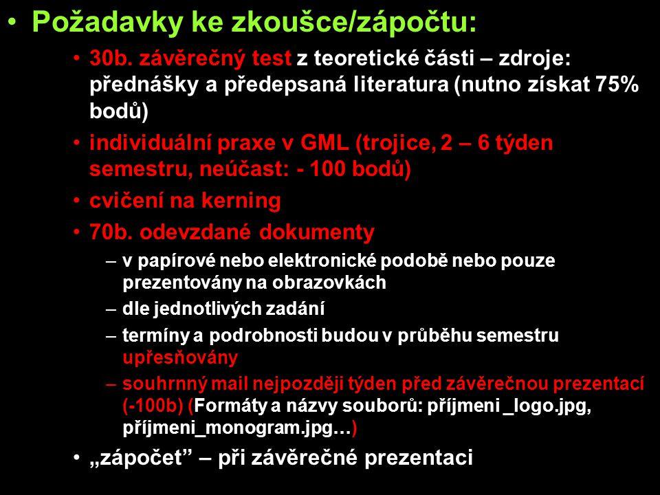 Požadavky ke zkoušce/zápočtu: 30b.