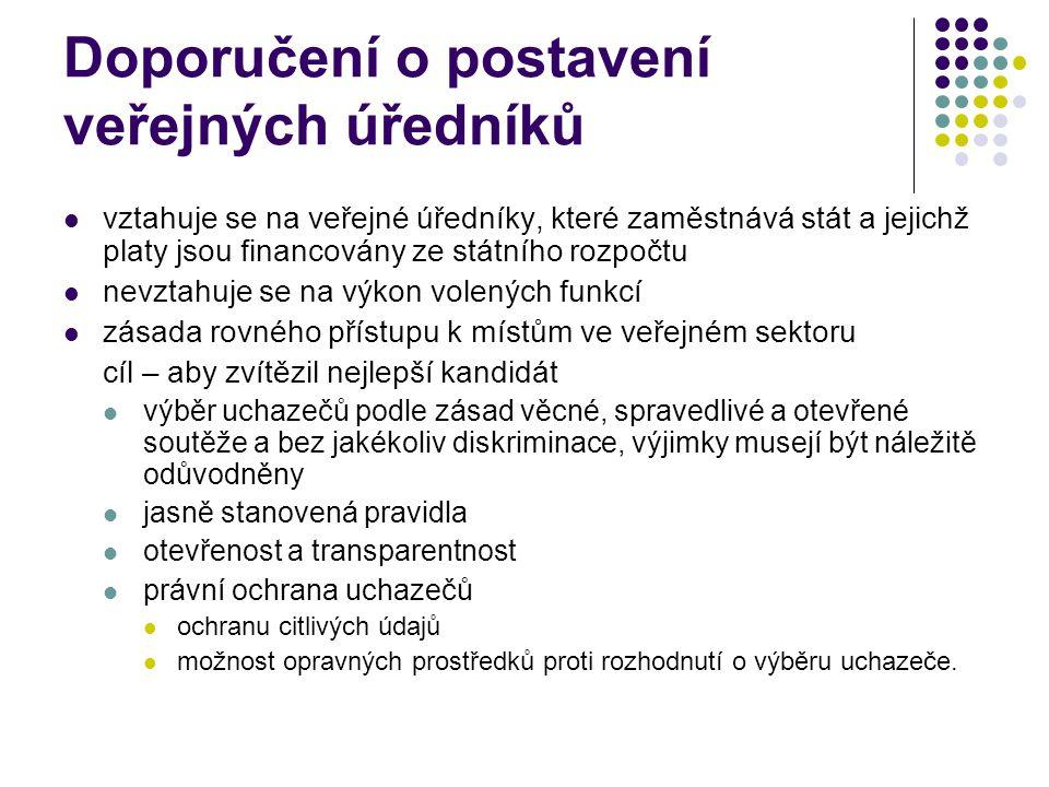 Doporučení o postavení veřejných úředníků - pokračování překládání veřejných úředníků bez souhlasu možné pouze ve veřejném zájmu a v zájmu dobré veřejné správy nesmí mít povahu sankce úředník má právo požádat o přezkum povyšování se má řídit věcnými kritérii možnost omezení výkonu občanských a politických práv úředníků v nezbytném rozsahu zákaz diskriminace členské státy odpovídají za sociální zabezpečení veřejných úředníků
