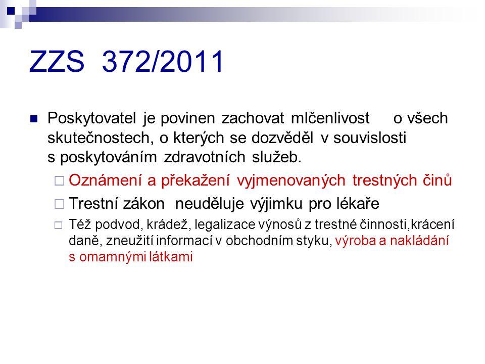 ZZS 372/2011 Poskytovatel je povinen zachovat mlčenlivost o všech skutečnostech, o kterých se dozvěděl v souvislosti s poskytováním zdravotních služeb.