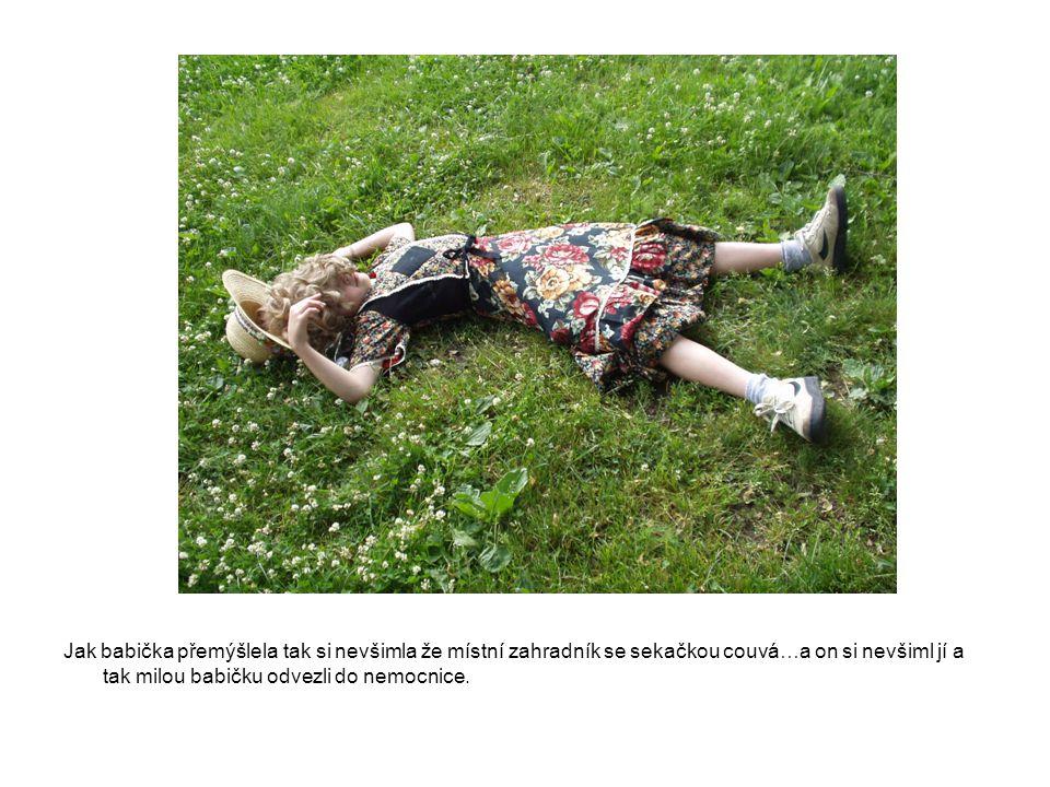 Jak babička přemýšlela tak si nevšimla že místní zahradník se sekačkou couvá…a on si nevšiml jí a tak milou babičku odvezli do nemocnice.