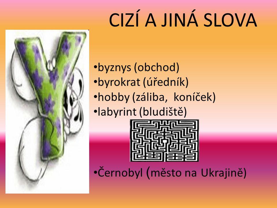 CIZÍ A JINÁ SLOVA byznys (obchod) byrokrat (úředník) hobby (záliba, koníček) labyrint (bludiště) Černobyl ( město na Ukrajině)