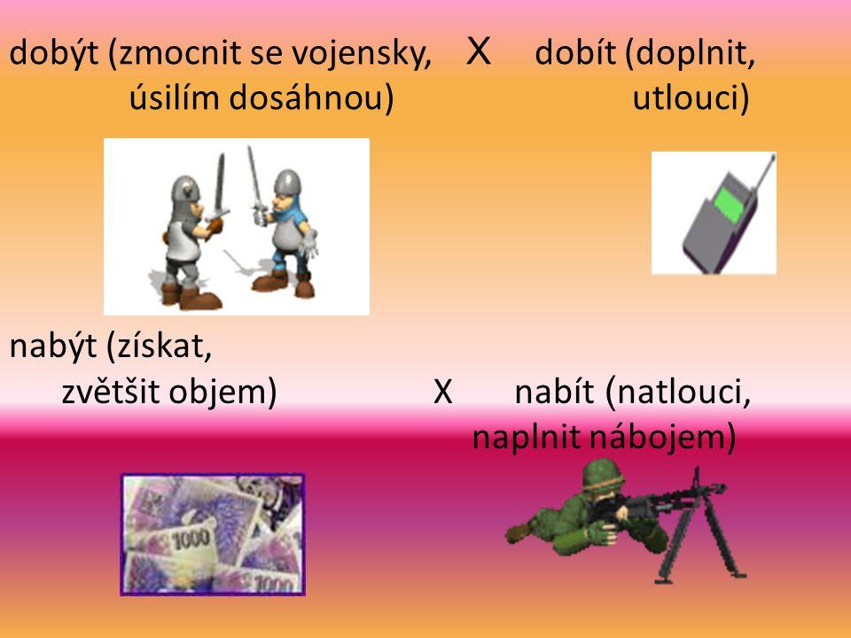 Rozdíly ve významu slov být (existovat, znamenat) X bít (tlouci) bydlo (obydlí, živobytí) X bidlo (tyč)