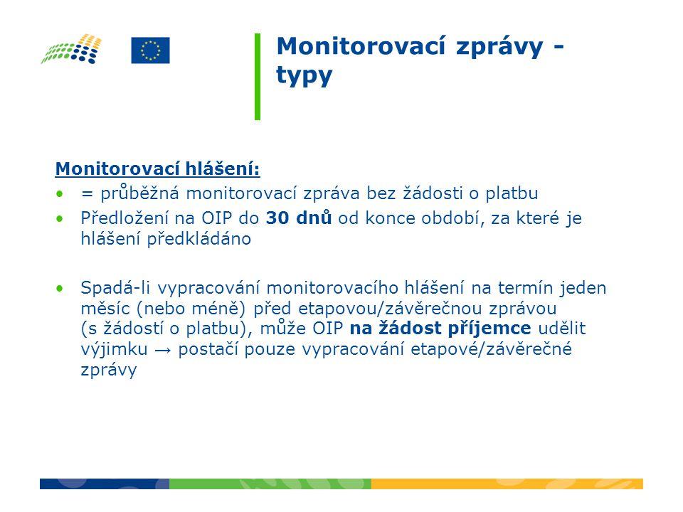Monitorovací zprávy - typy Monitorovací hlášení: = průběžná monitorovací zpráva bez žádosti o platbu Předložení na OIP do 30 dnů od konce období, za které je hlášení předkládáno Spadá-li vypracování monitorovacího hlášení na termín jeden měsíc (nebo méně) před etapovou/závěrečnou zprávou (s žádostí o platbu), může OIP na žádost příjemce udělit výjimku → postačí pouze vypracování etapové/závěrečné zprávy