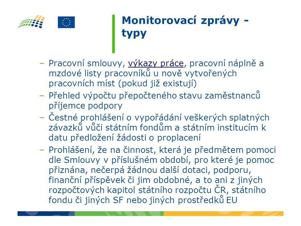Monitorovací zprávy - typy –U projektu v rámci prioritní osy 2 (kde je to relevantní) dokládá žadatel se závěrečnou monitorovací zprávou a s žádostí o platbu podanou žádost o certifikaci.