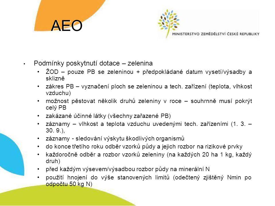 AEO Podmínky poskytnutí dotace – zelenina ŽOD – pouze PB se zeleninou + předpokládané datum vysetí/výsadby a sklizně zákres PB – vyznačení ploch se zeleninou a tech.