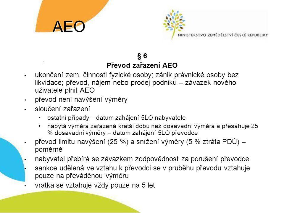 AEO § 6 Převod zařazení AEO ukončení zem.
