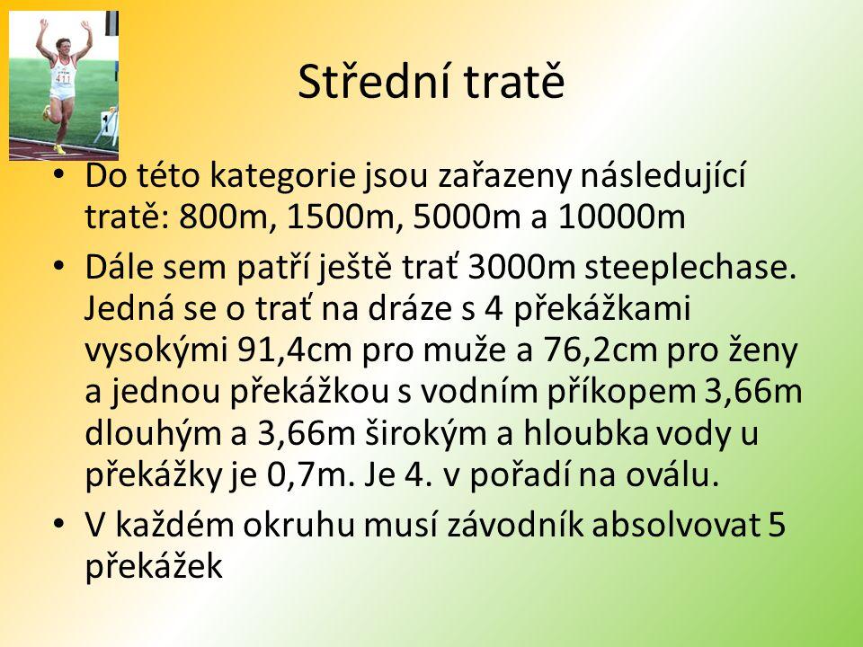 Střední tratě Do této kategorie jsou zařazeny následující tratě: 800m, 1500m, 5000m a 10000m Dále sem patří ještě trať 3000m steeplechase.