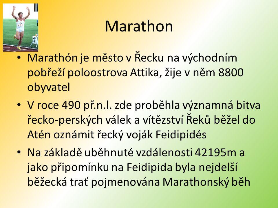 Marathon Marathón je město v Řecku na východním pobřeží poloostrova Attika, žije v něm 8800 obyvatel V roce 490 př.n.l.