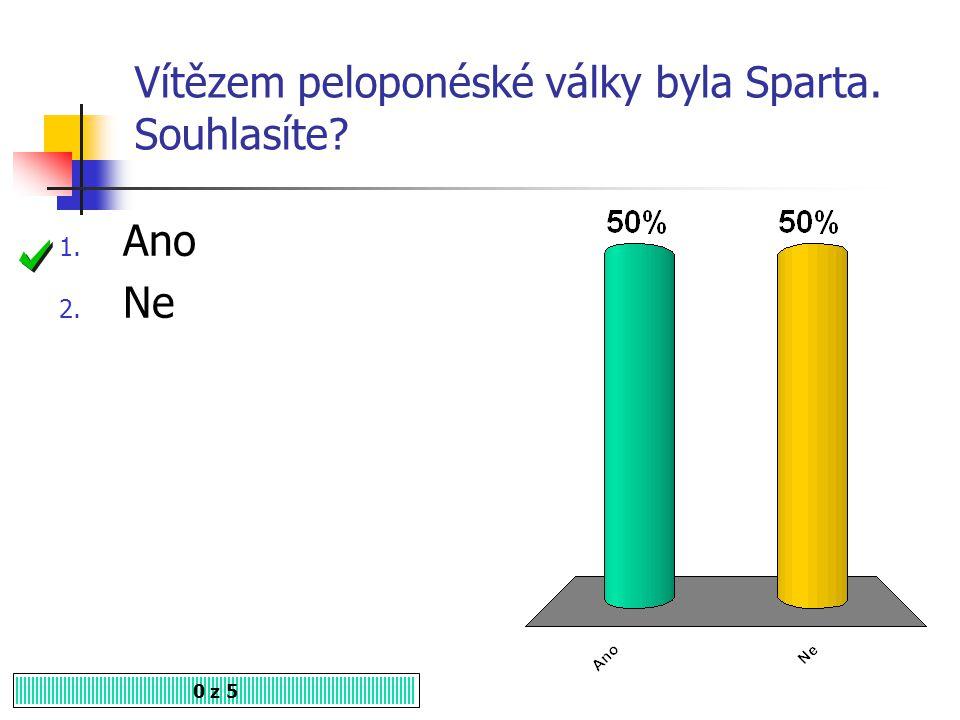 Kdo bojoval v tzv. válce peloponéské? 0 z 5 1. Théby a Sparta 2. Sparta a Athény 3. Athény a Mykény