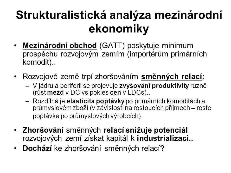 Strukturalistická analýza mezinárodní ekonomiky Mezinárodní obchod (GATT) poskytuje minimum prospěchu rozvojovým zemím (importérům primárních komodit)..
