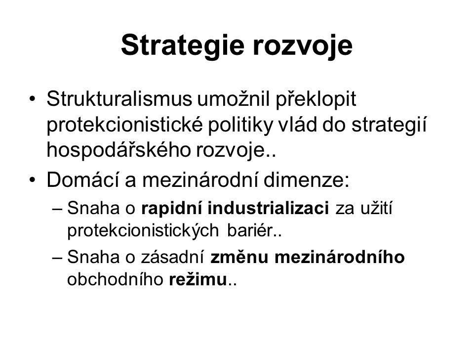 Strategie rozvoje Strukturalismus umožnil překlopit protekcionistické politiky vlád do strategií hospodářského rozvoje..