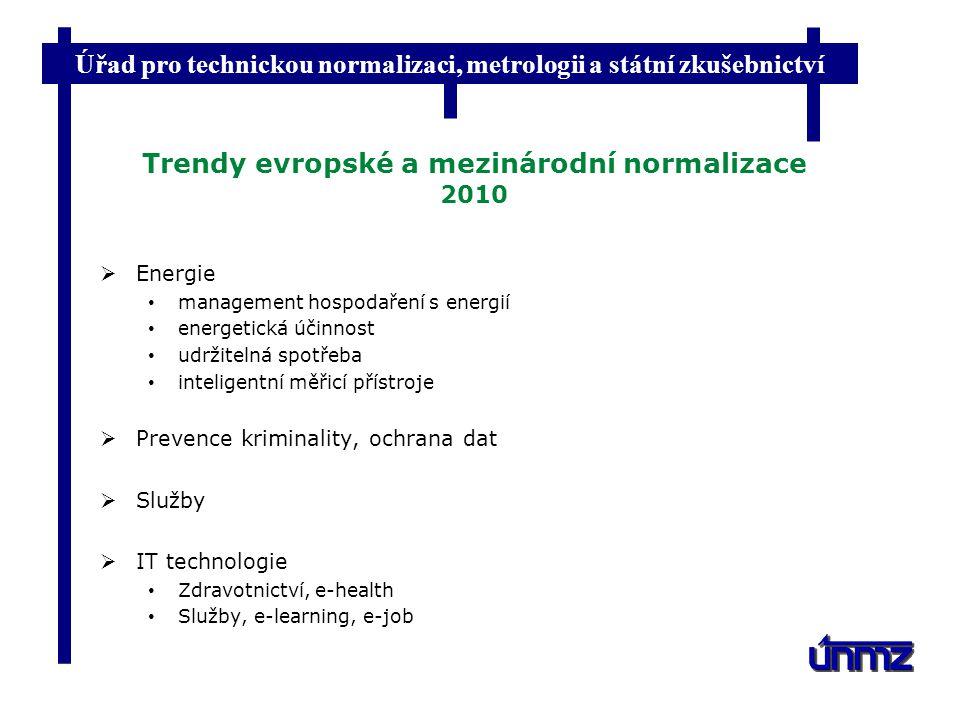 Úřad pro technickou normalizaci, metrologii a státní zkušebnictví Trendy evropské a mezinárodní normalizace 2010  Energie management hospodaření s en