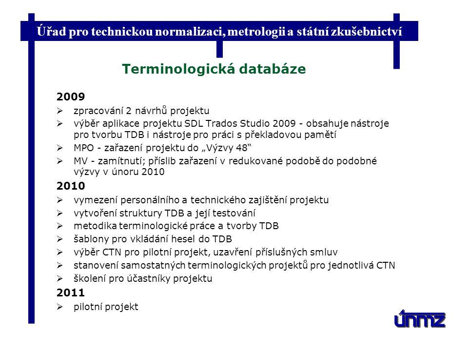 Úřad pro technickou normalizaci, metrologii a státní zkušebnictví Terminologická databáze 2009  zpracování 2 návrhů projektu  výběr aplikace projekt
