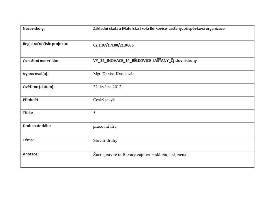Název školy:Základní škola a Mateřská škola Bělkovice-Lašťany, příspěvková organizace Registrační číslo projektu: CZ.1.07/1.4.00/21.0666 Označení materiálu: VY_32_INOVACE_14_BĚLKOVICE-LAŠŤANY_Čj-slovní druhy Vypracoval(a): Mgr.