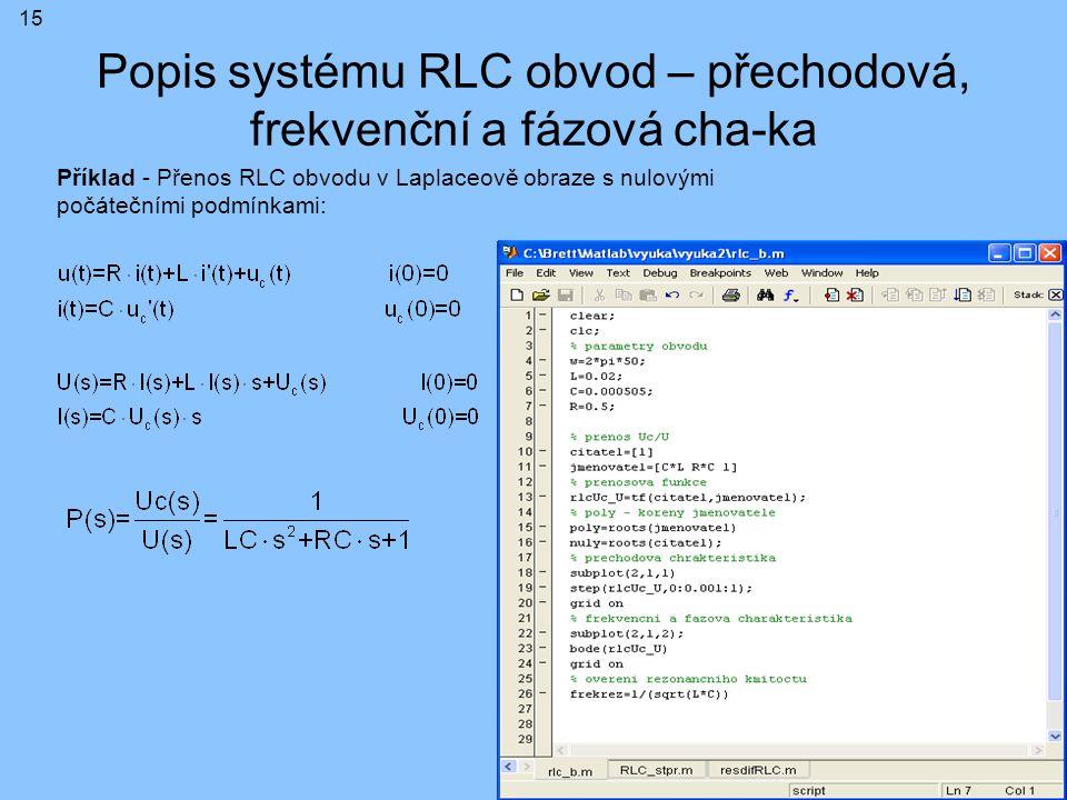 Popis systému RLC obvod – přechodová, frekvenční a fázová cha-ka Příklad - Přenos RLC obvodu v Laplaceově obraze s nulovými počátečními podmínkami: 15