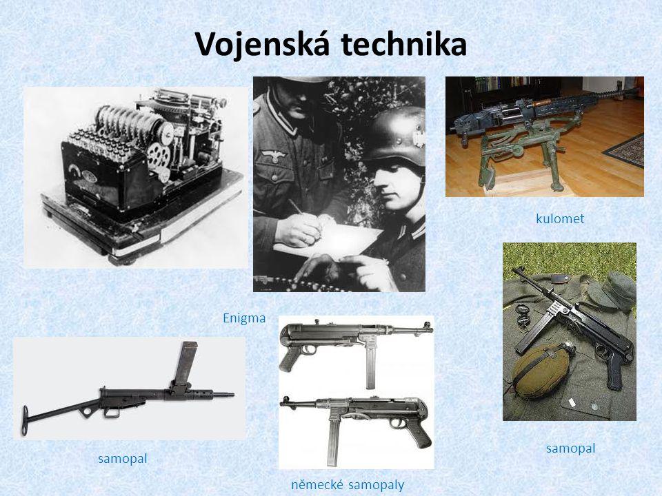 Vojenská technika Enigma kulomet samopal německé samopaly