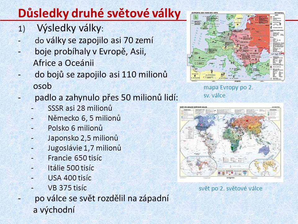 svět po 2.světové válce mapa Evropy po 2. sv.