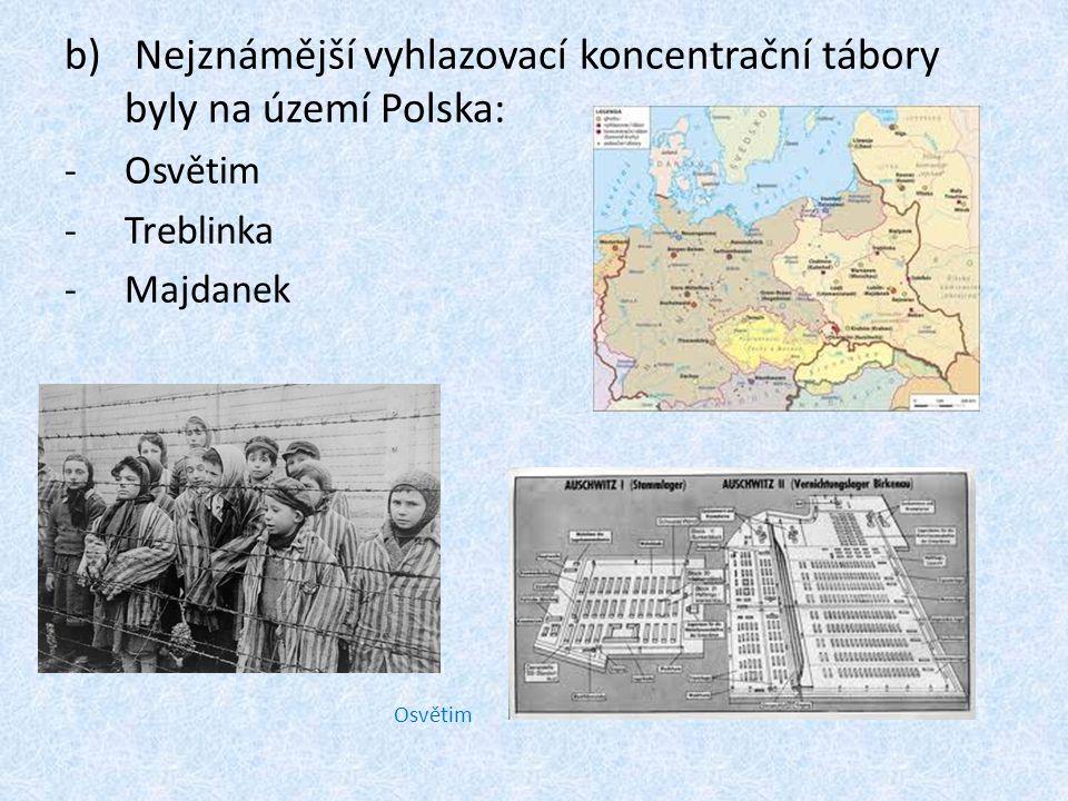 Osvětim b) Nejznámější vyhlazovací koncentrační tábory byly na území Polska: -Osvětim -Treblinka -Majdanek
