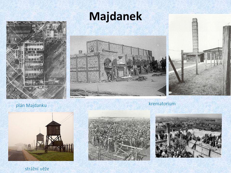 Majdanek krematorium plán Majdanku strážní věže
