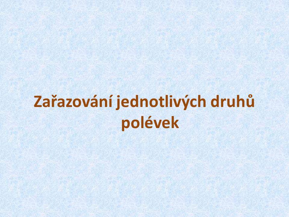 PŘIŘAZOVÁNÍ POLÉVEK Vločková Zeleninová Gulášová Frankfurtská Slepičí Hovězí se svítkem Hovězí s nudlemi Zeleninová se strouháním Jednotlivé polévky rozděl do skupiny: Bílé Hnědé
