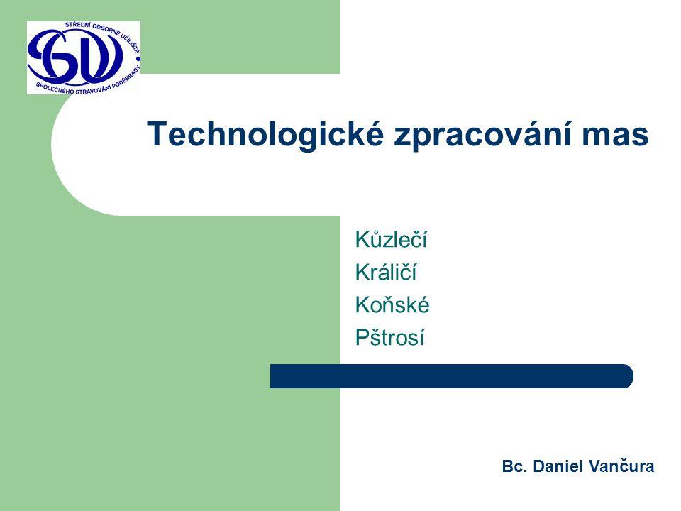 Technologické zpracování mas Kůzlečí Králičí Koňské Pštrosí Bc. Daniel Vančura