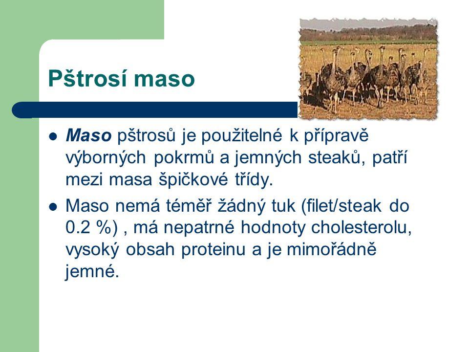 Pštrosí maso Maso pštrosů je použitelné k přípravě výborných pokrmů a jemných steaků, patří mezi masa špičkové třídy. Maso nemá téměř žádný tuk (filet