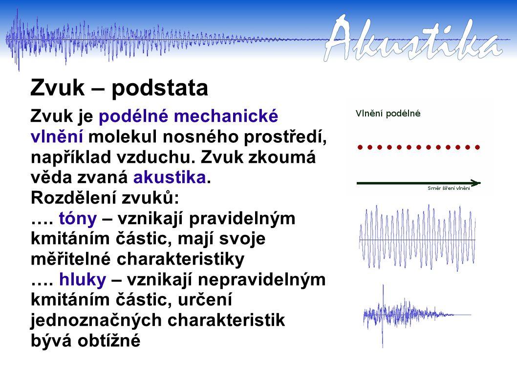 Zvuk – podstata Zvuk je podélné mechanické vlnění molekul nosného prostředí, například vzduchu.