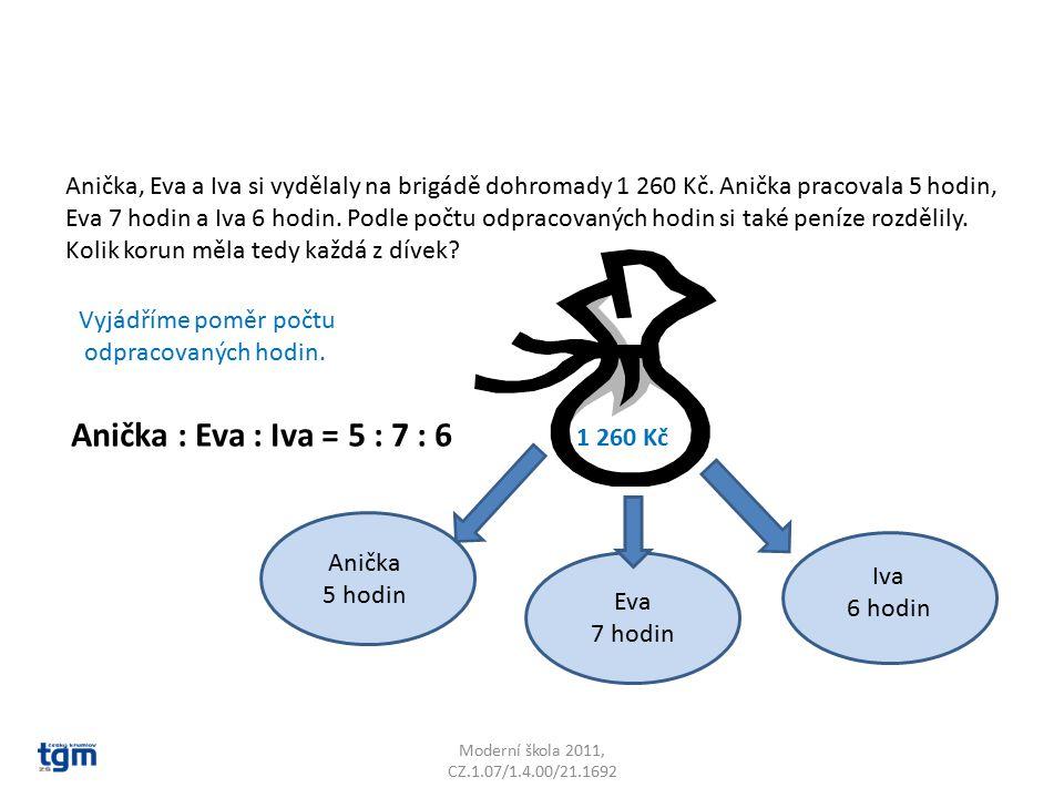Moderní škola 2011, CZ.1.07/1.4.00/21.1692 Anička, Eva a Iva si vydělaly na brigádě dohromady 1 260 Kč. Anička pracovala 5 hodin, Eva 7 hodin a Iva 6