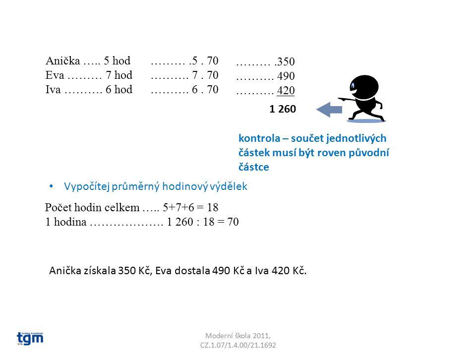 Moderní škola 2011, CZ.1.07/1.4.00/21.1692 Anička ….. 5 hod Eva ……… 7 hod Iva ………. 6 hod Počet hodin celkem ….. 5+7+6 = 18 1 hodina ………………. 1 260 : 18