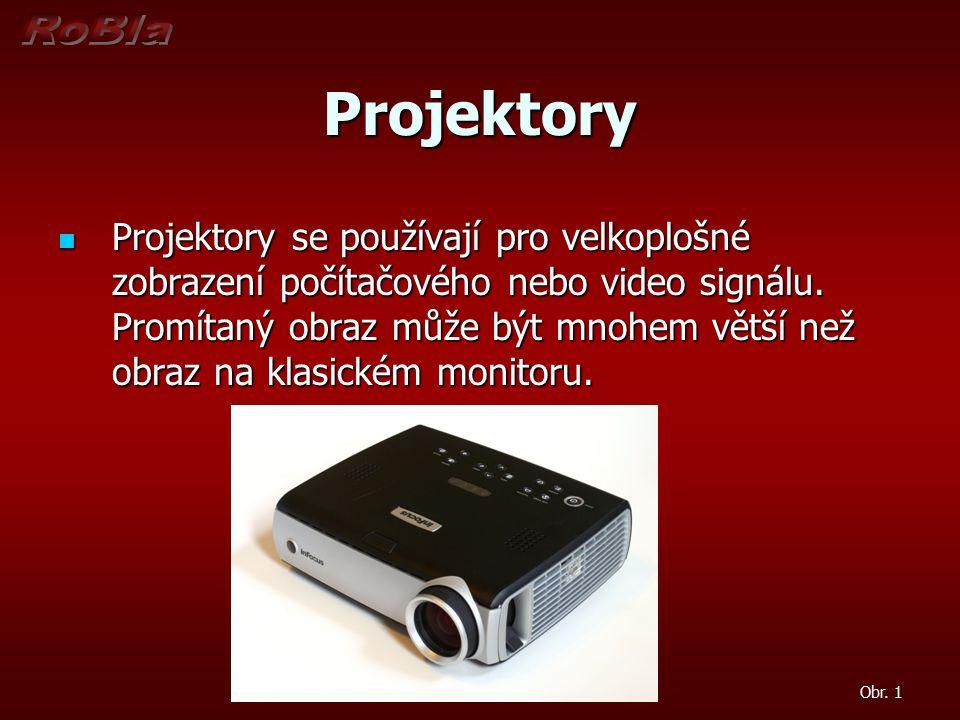 Projektory Projektory se používají pro velkoplošné zobrazení počítačového nebo video signálu. Promítaný obraz může být mnohem větší než obraz na klasi