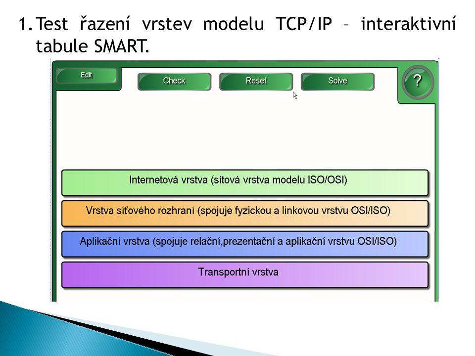 1.Test řazení vrstev modelu TCP/IP – interaktivní tabule SMART.