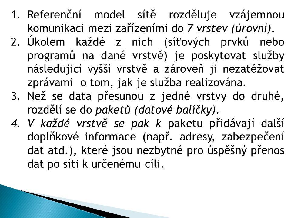 1.Referenční model sítě rozděluje vzájemnou komunikaci mezi zařízeními do 7 vrstev (úrovní).