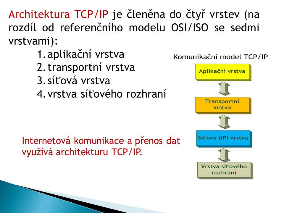 Architektura TCP/IP je členěna do čtyř vrstev (na rozdíl od referenčního modelu OSI/ISO se sedmi vrstvami): 1.aplikační vrstva 2.transportní vrstva 3.síťová vrstva 4.vrstva síťového rozhraní Internetová komunikace a přenos dat využívá architekturu TCP/IP.