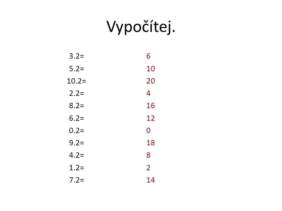 6 10 20 4 16 12 0 18 8 2 14 3.2= 5.2= 10.2= 2.2= 8.2= 6.2= 0.2= 9.2= 4.2= 1.2= 7.2= Vypočítej.