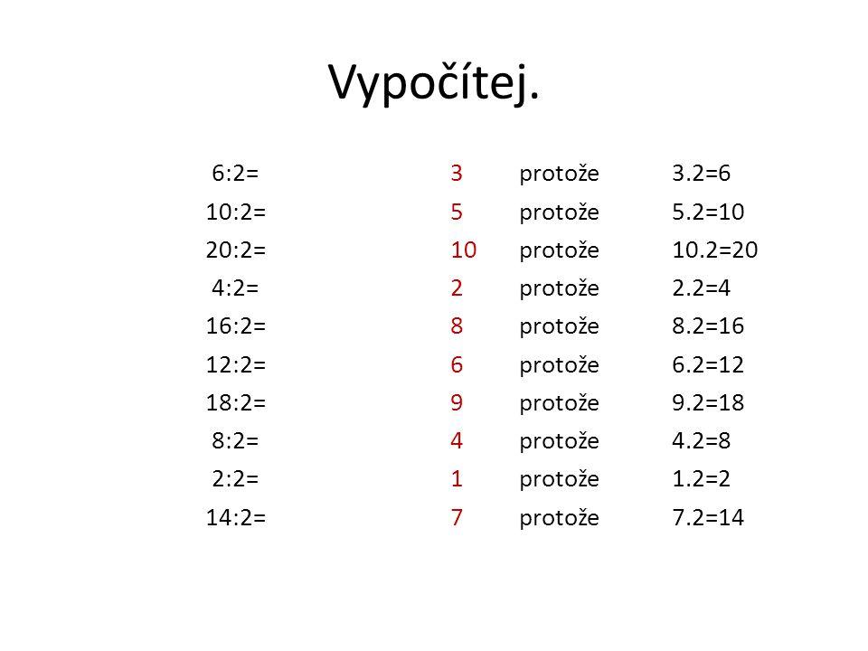 Vypočítej. 6:2= 10:2= 20:2= 4:2= 16:2= 12:2= 18:2= 8:2= 2:2= 14:2= 3protože3.2=6 5protože5.2=10 10protože10.2=20 2protože2.2=4 8protože8.2=16 6protože