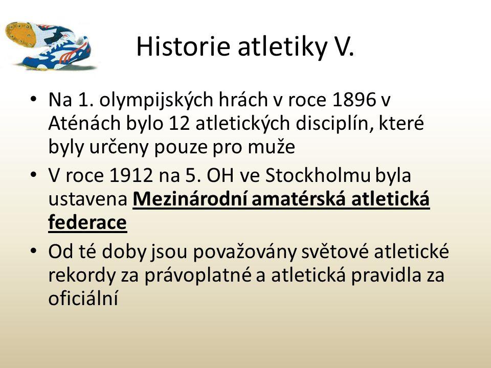 Historie atletiky V. Na 1. olympijských hrách v roce 1896 v Aténách bylo 12 atletických disciplín, které byly určeny pouze pro muže V roce 1912 na 5.